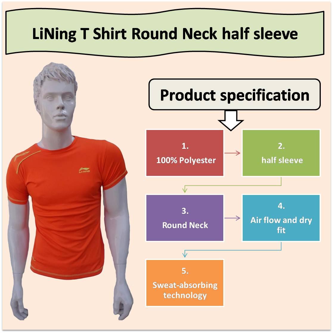 LiNing T Shirt Round Neck half sleeve Orange