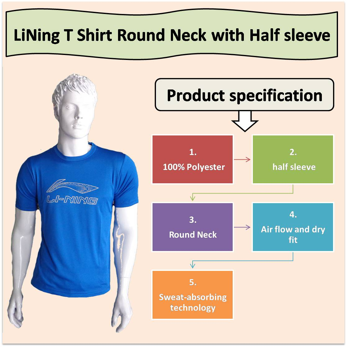 LiNing T Shirt Round Neck with Half sleeve Blue