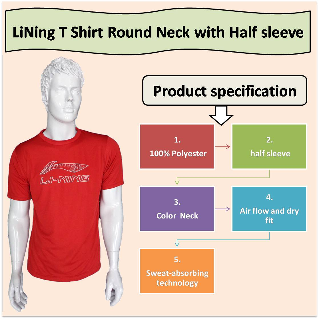 LiNing T Shirt Round Neck with Half sleeve Red