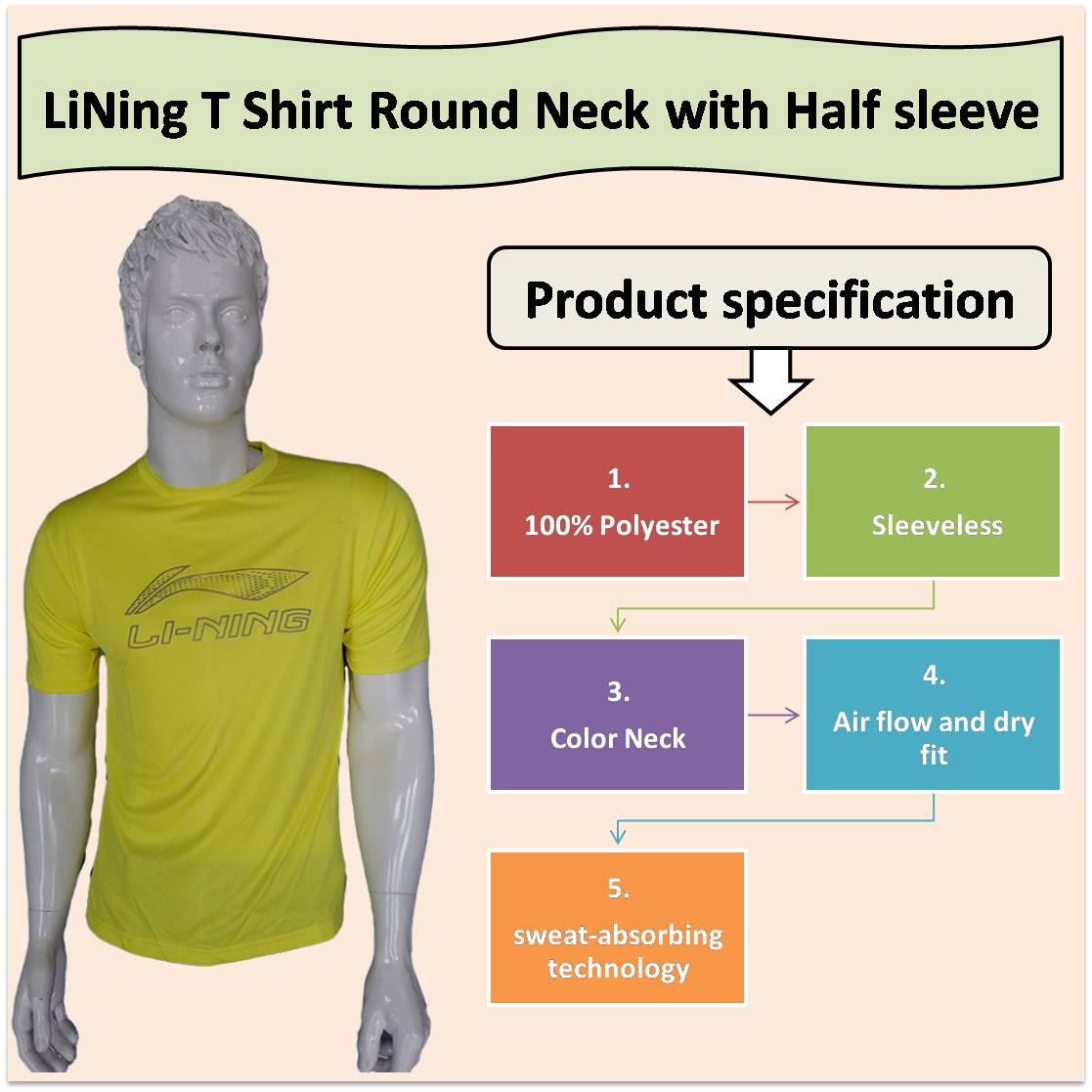 LiNing T Shirt Round Neck with Half sleeve Yellow