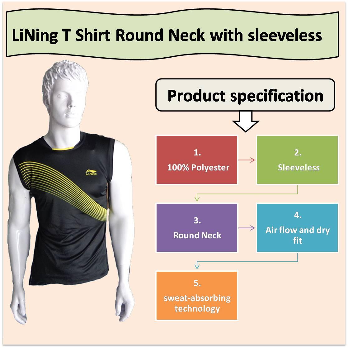 LiNing T Shirt Round Neck with sleeveless Black