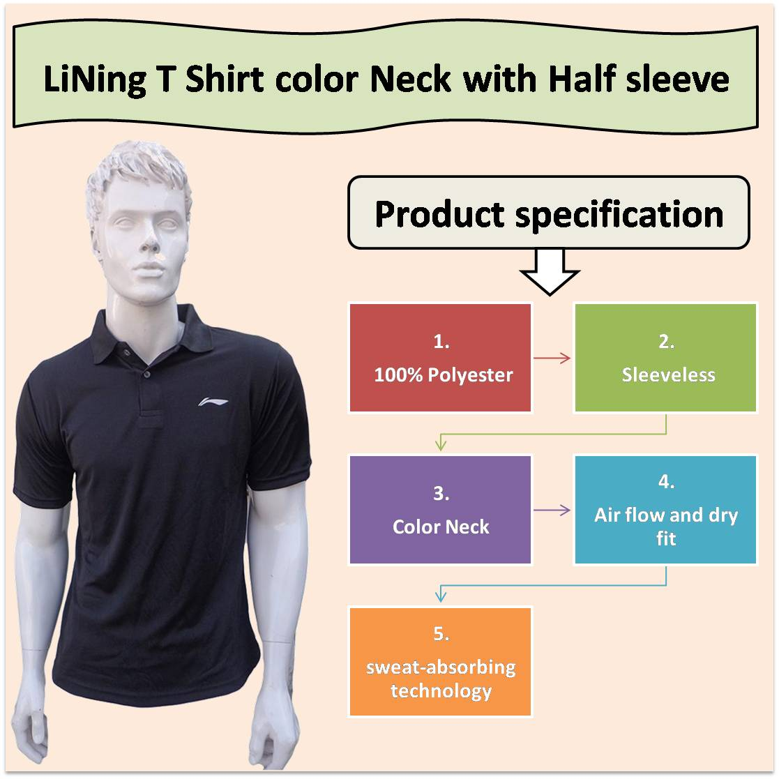 LiNing T Shirt color Neck with Half sleeve Black