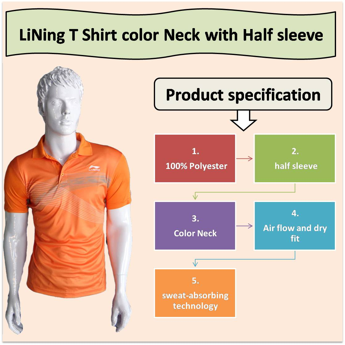 LiNing T Shirt color Neck with Half sleeve Orange