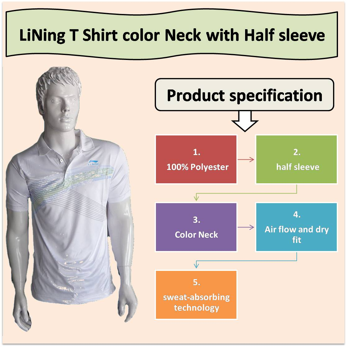 LiNing T Shirt color Neck with Half sleeve White
