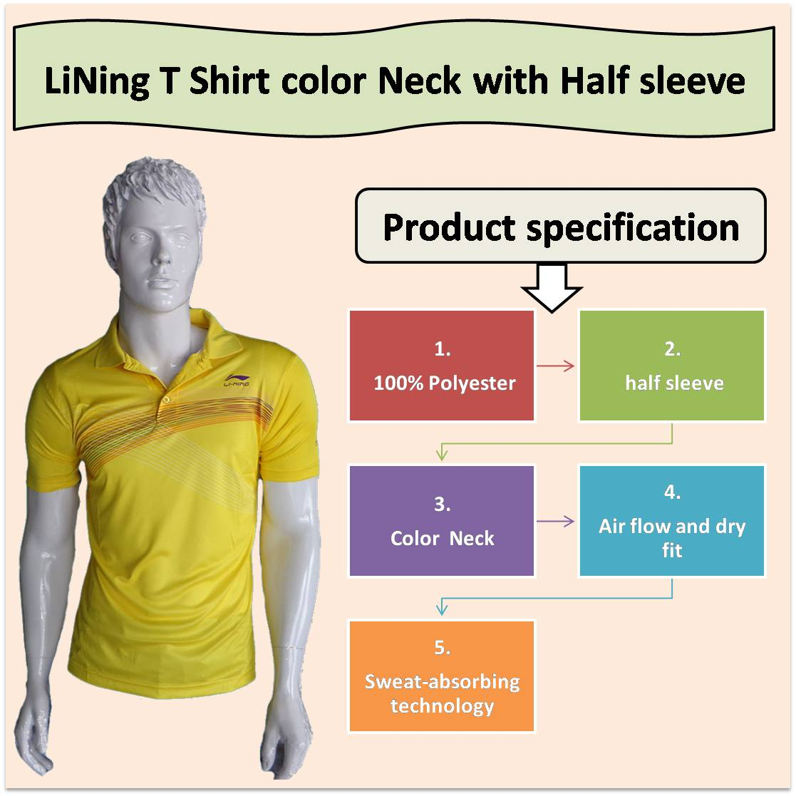 LiNing T Shirt color Neck with Half sleeve Yellow