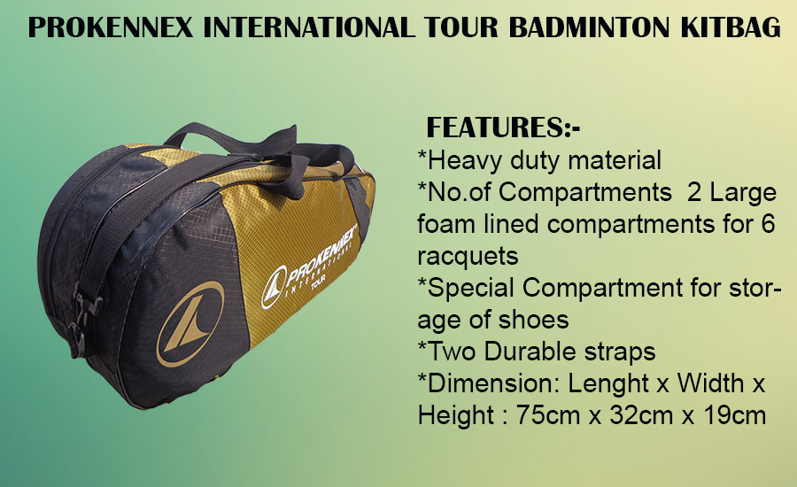 Prokennex International Tour Badminton Kit Bag Yellow and Black