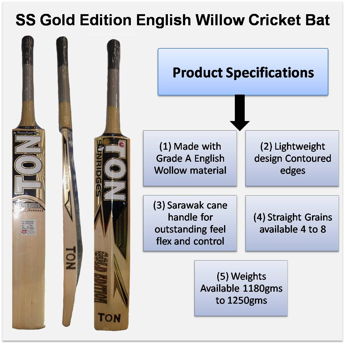 SS Gold Edition English Willow Cricket Bat