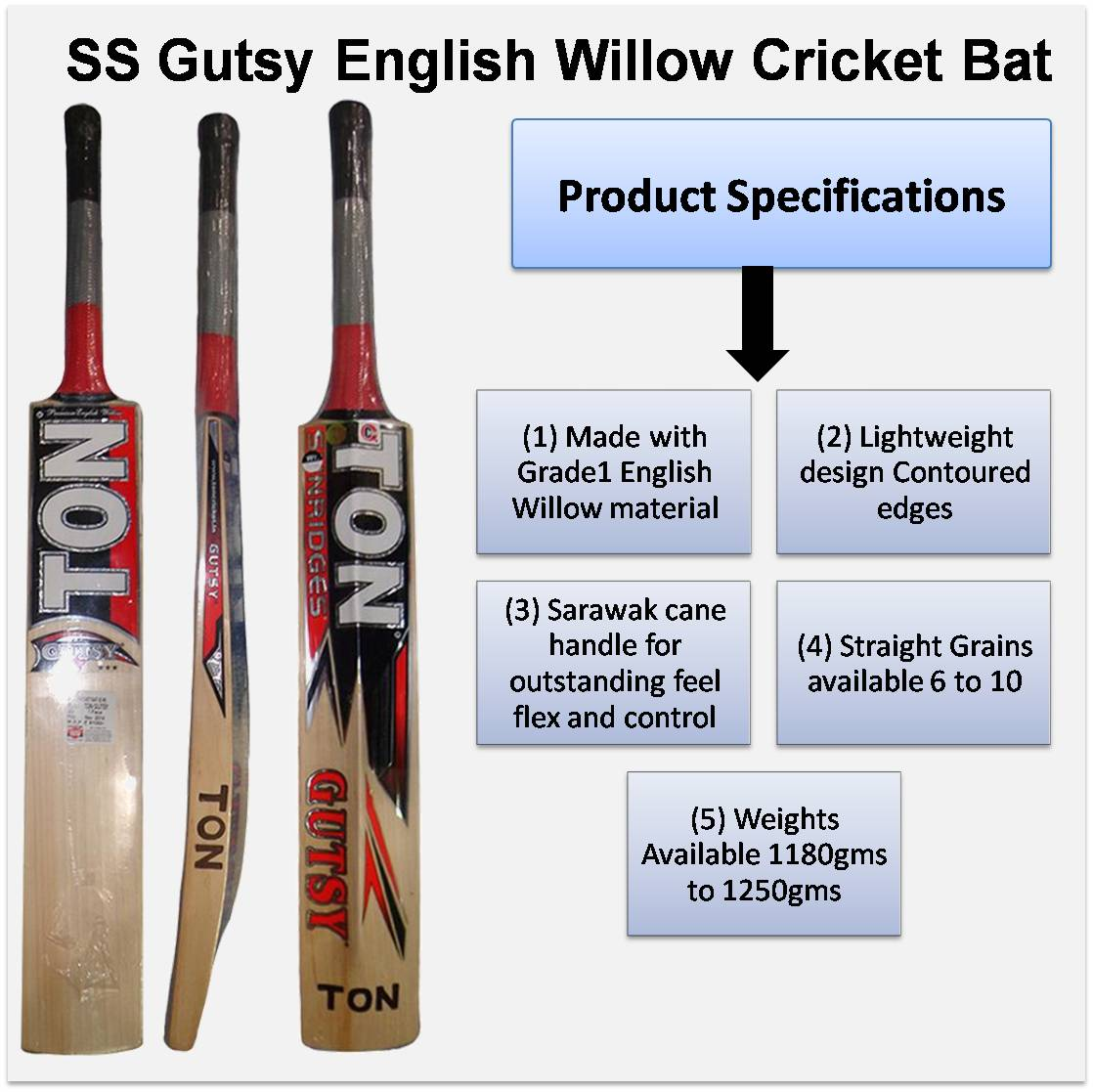 SS Gutsy English Willow Cricket Bat