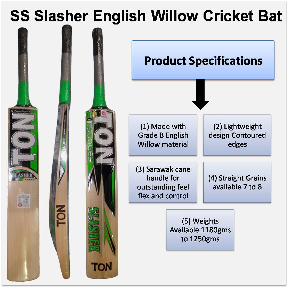 SS Slasher English Willow Cricket Bat