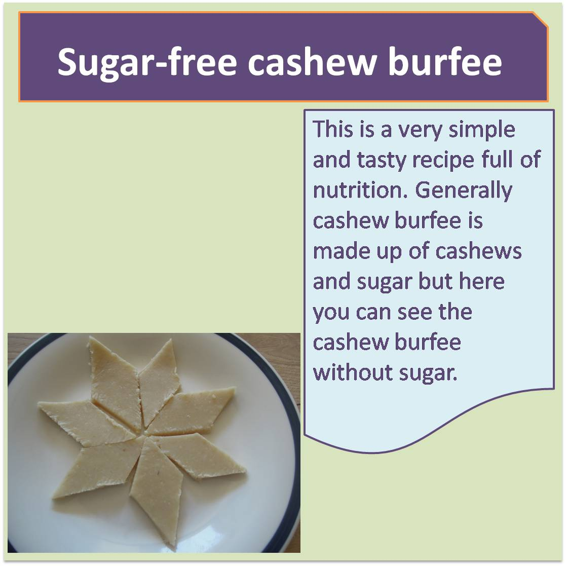 Sugar-free cashew burfee