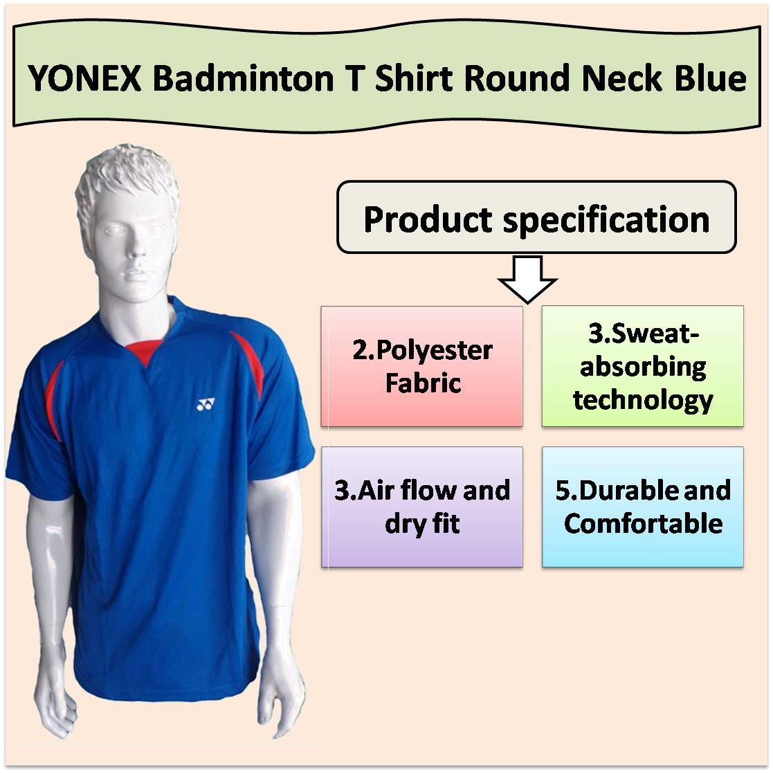 YONEX Badminton T Shirt Round Neck Blue and red