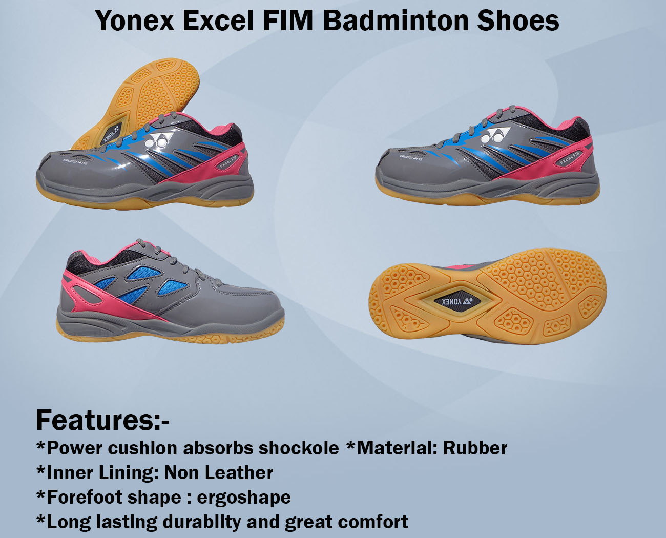 Yonex Excel FIM Badminton Shoes Gray and Pink