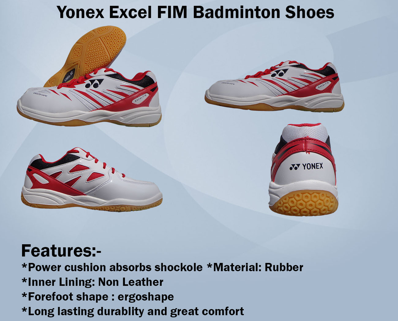 Yonex Excel FIM Badminton Shoes White and Red
