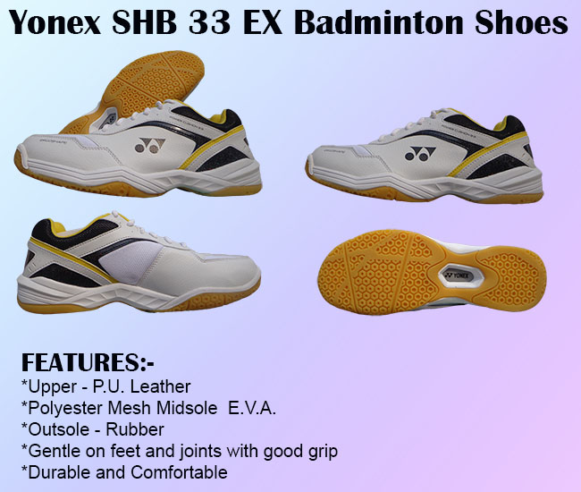 Yonex SHB 33 EX Badminton Shoes White and Black