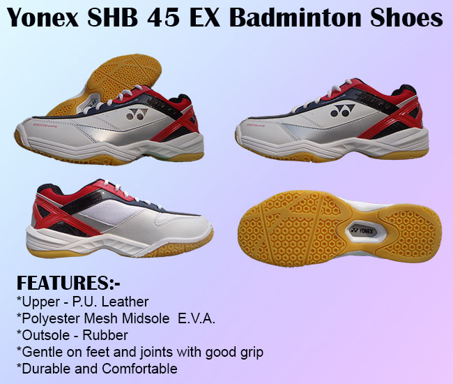 Yonex SHB 45 EX Badminton Shoes White and Red