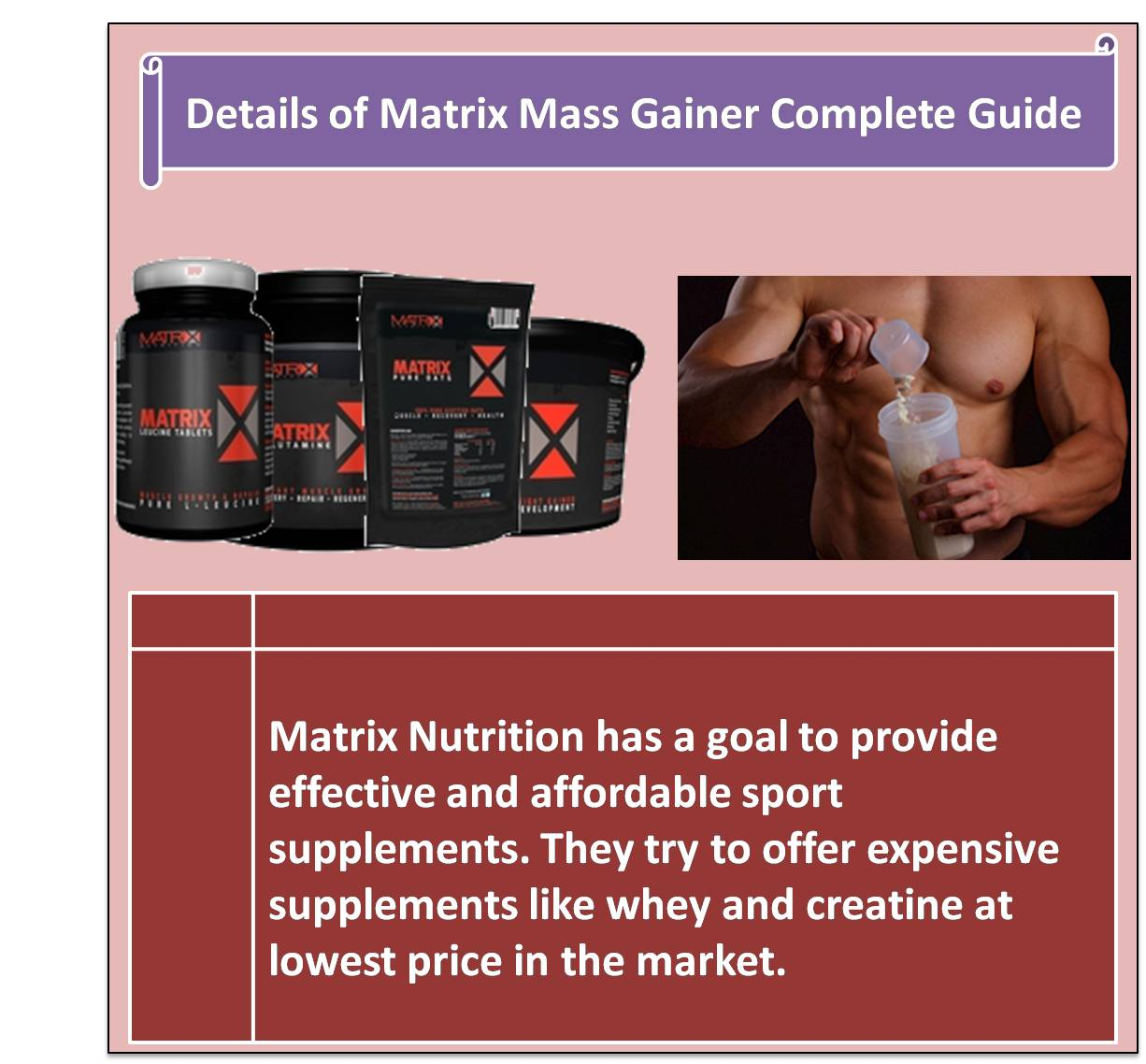 Details of Matrix Mass Gainer Complete Guide
