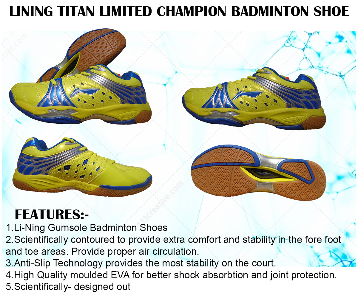 Li Ning Titan Limited Champion Blue and Yellow Badminton Shoes