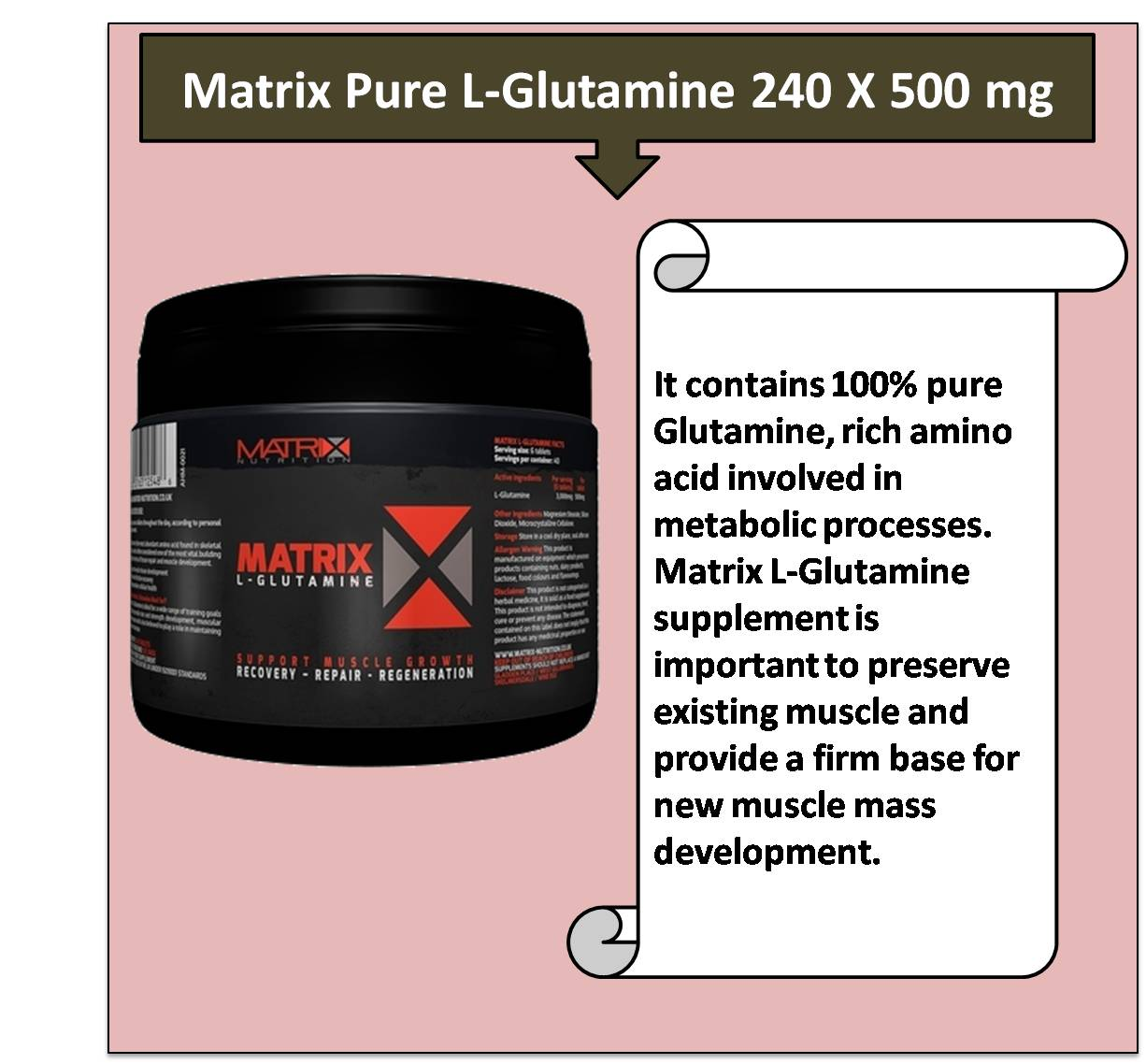 Matrix Pure L-Glutamine 240 X 500 mg