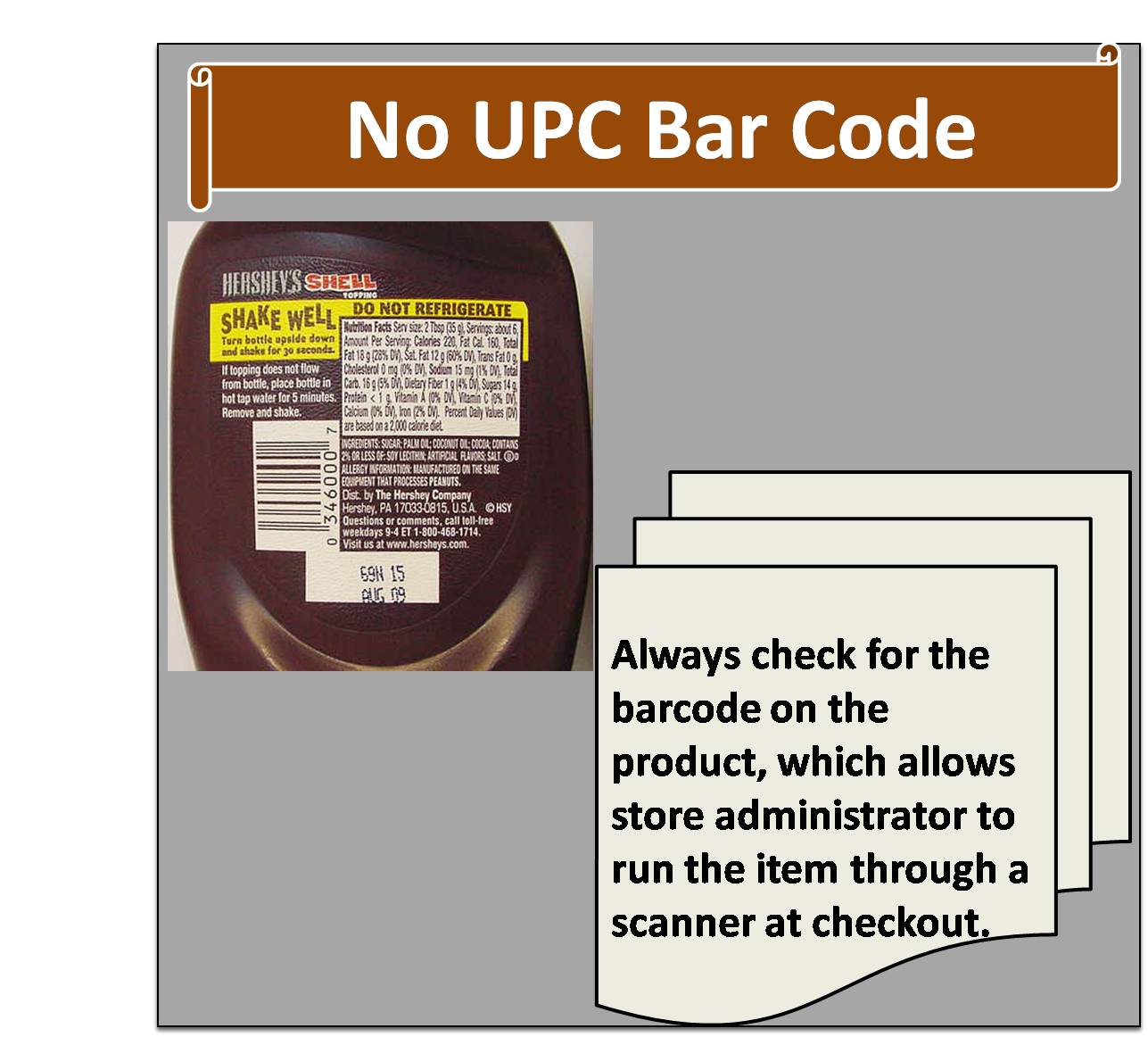 No UPC bar code
