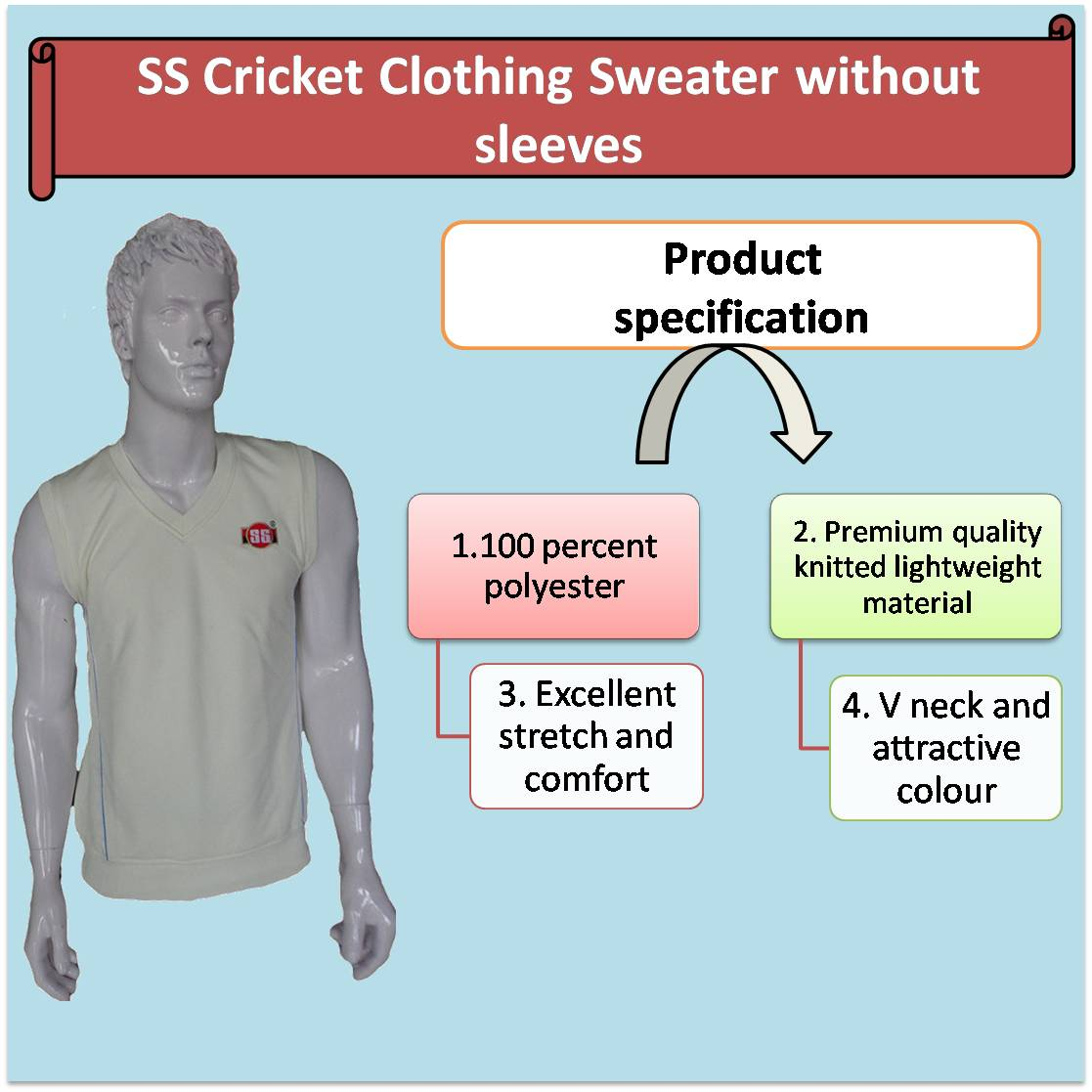 SS Cricket Clothing Sweater without sleeves