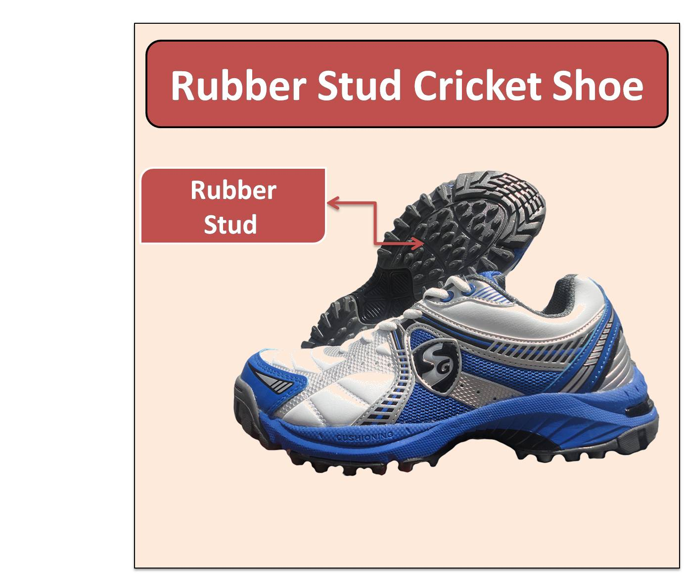 Rubber Stud Cricket Shoe