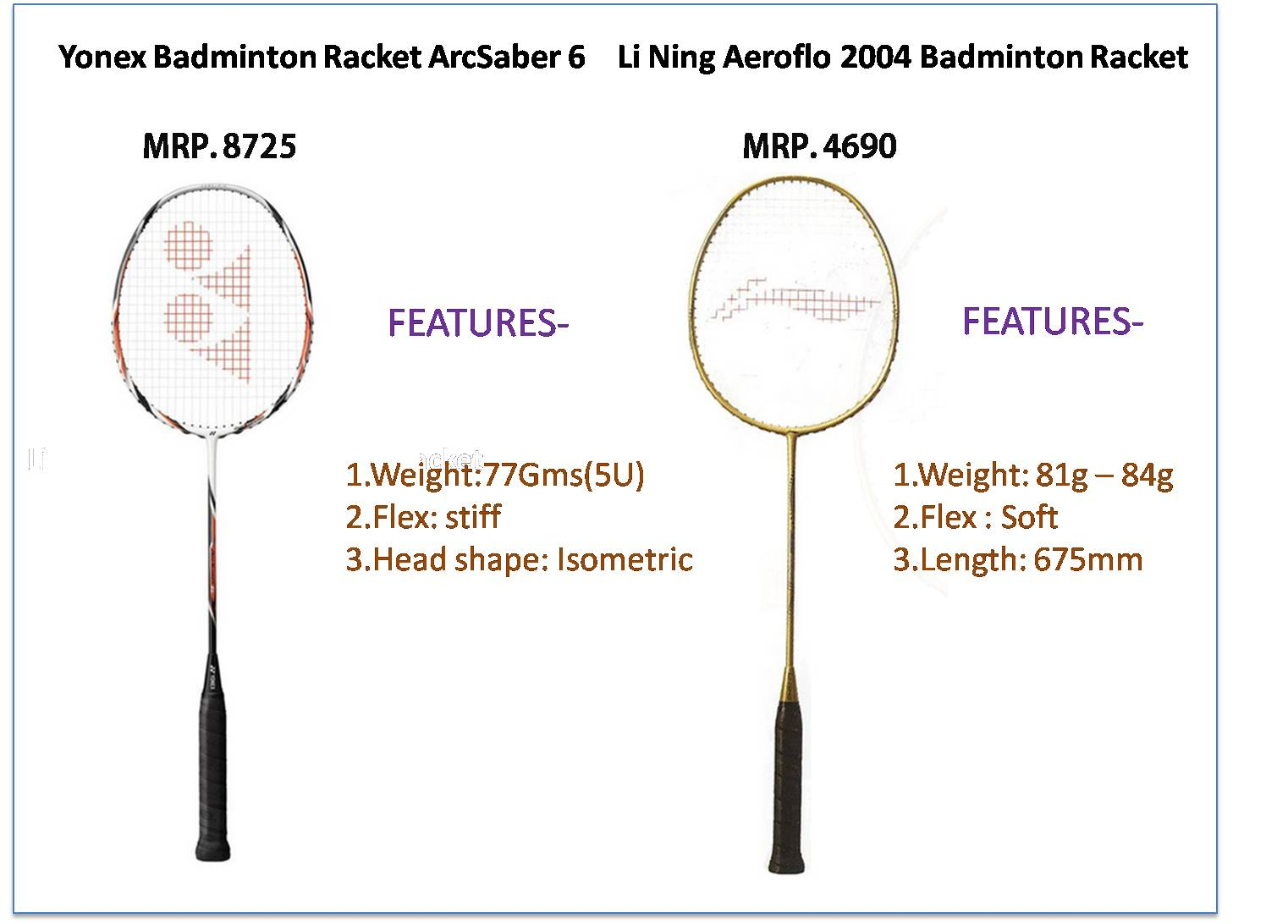 Difference betweenYonex  arcsaber 6 and lining 2004 badminton bat