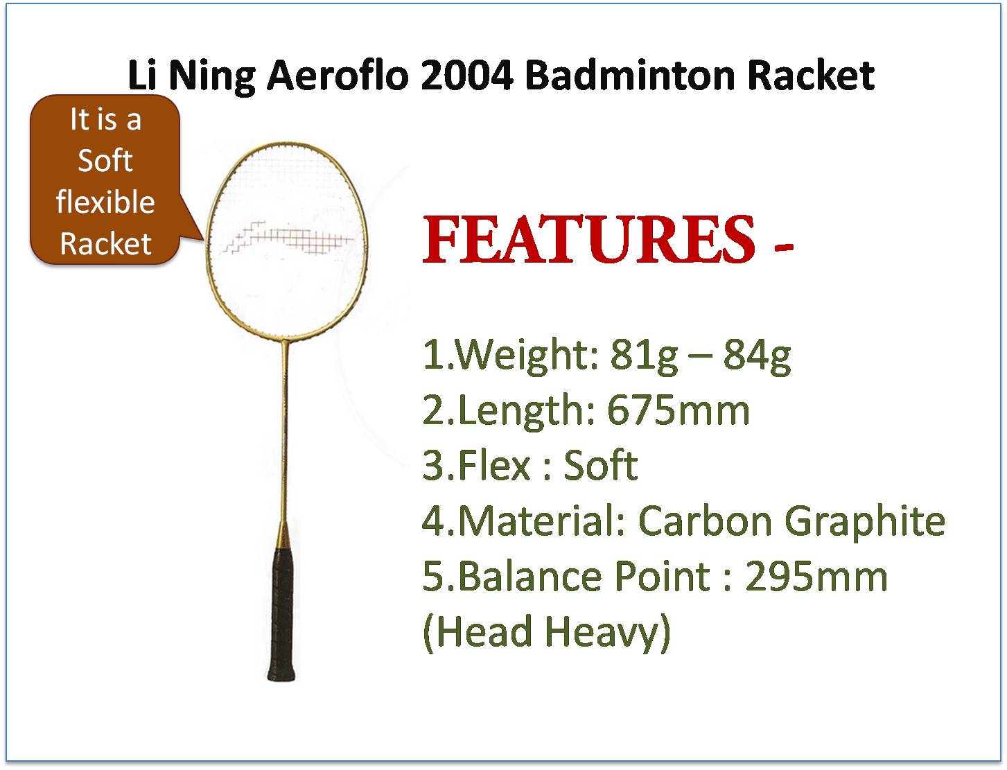 Lining aeroflow 2004 badminton racke on 20-Jun-15t