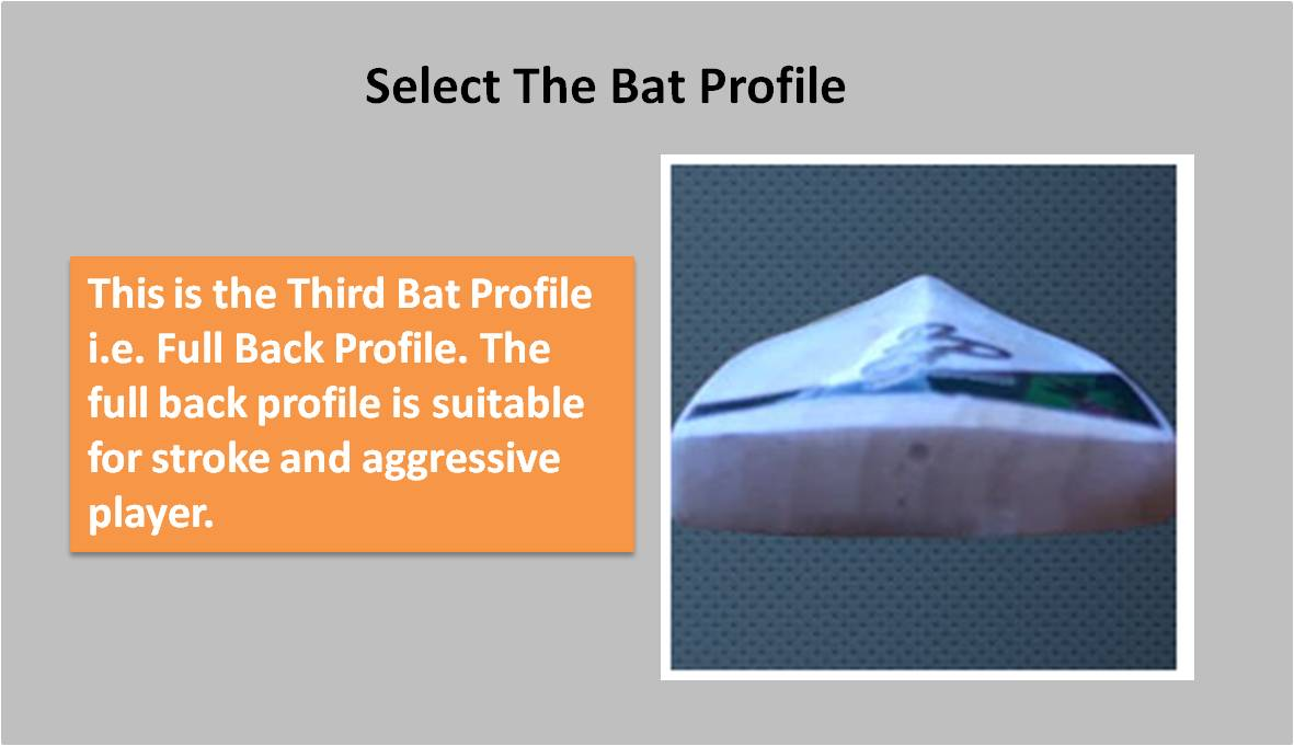 Custom Made English willow Bat Full Back Profile