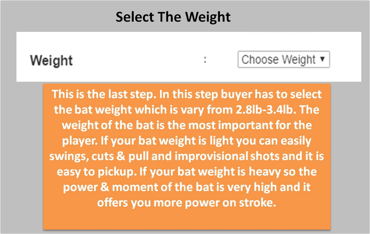 Custom Made English willow Bat Weight