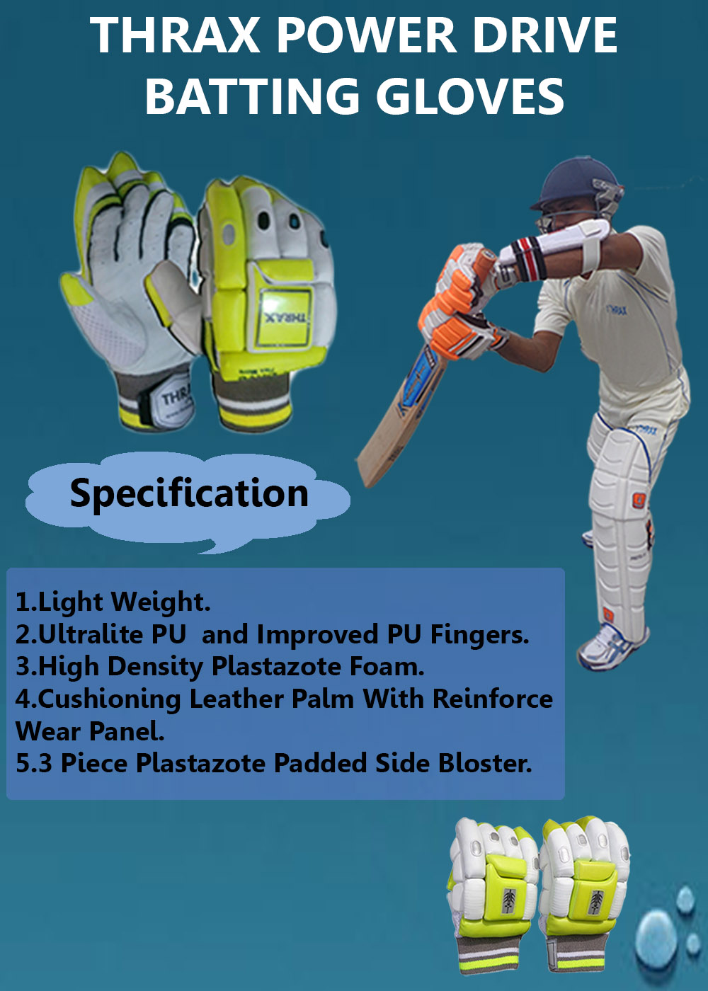 Thrax Power Drive Cricket Batting Gloves
