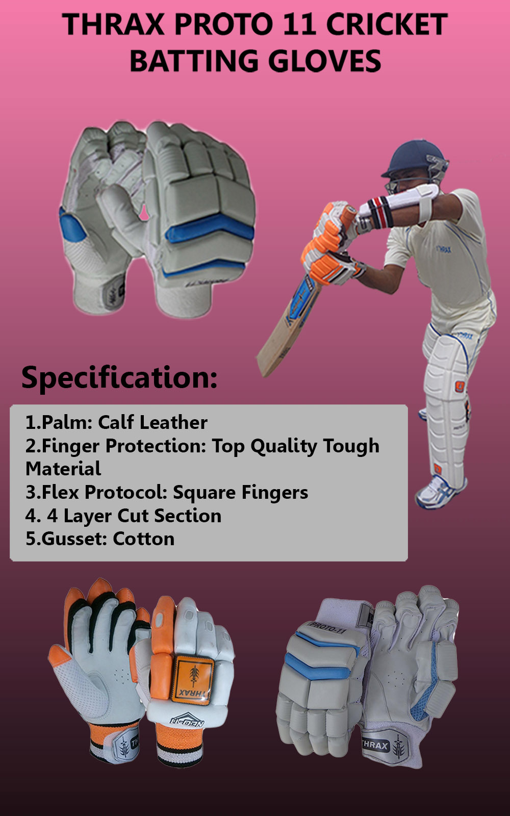 Thrax Proto 11 Cricket Batting gloves