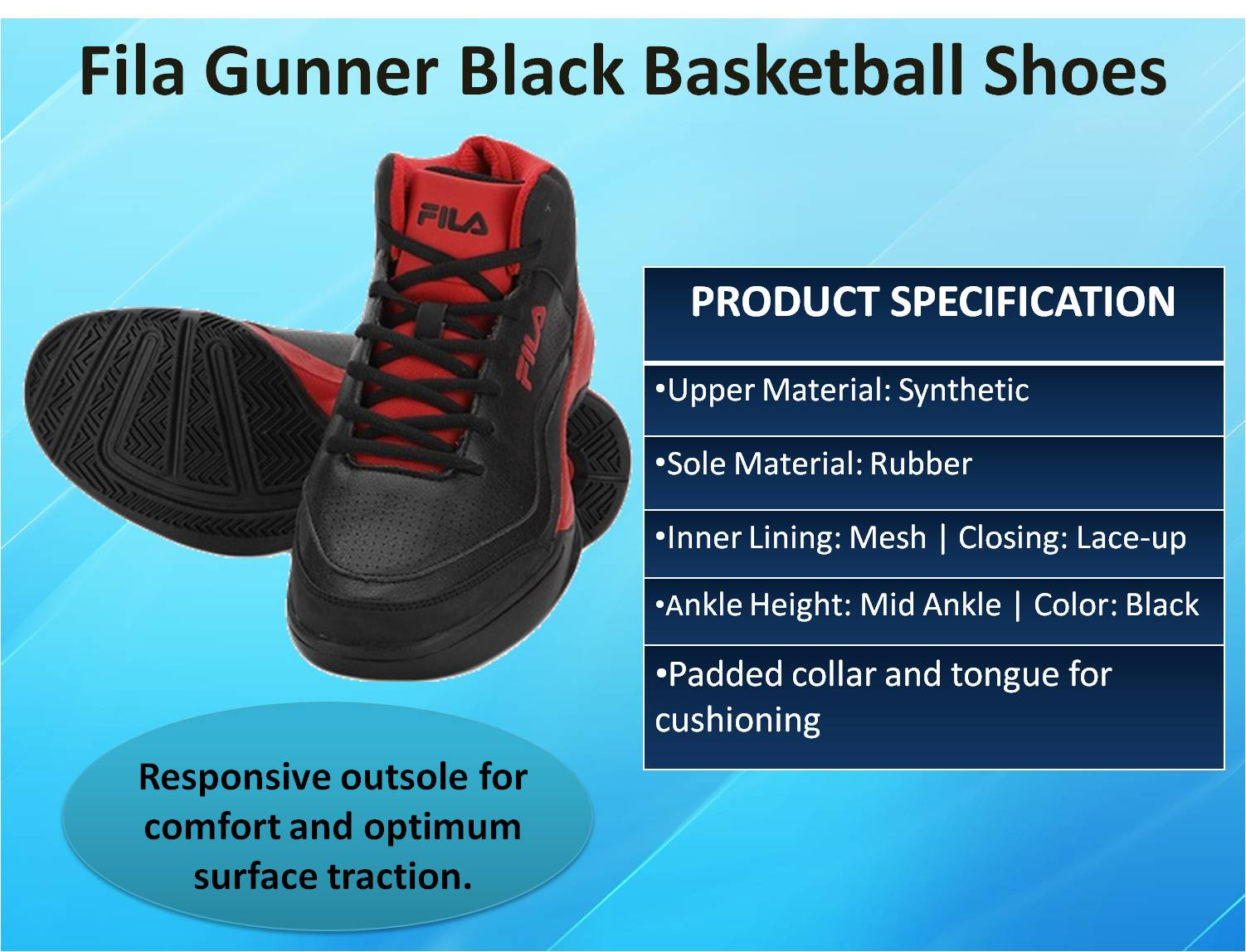Fila Gunner Black Basketball Shoes