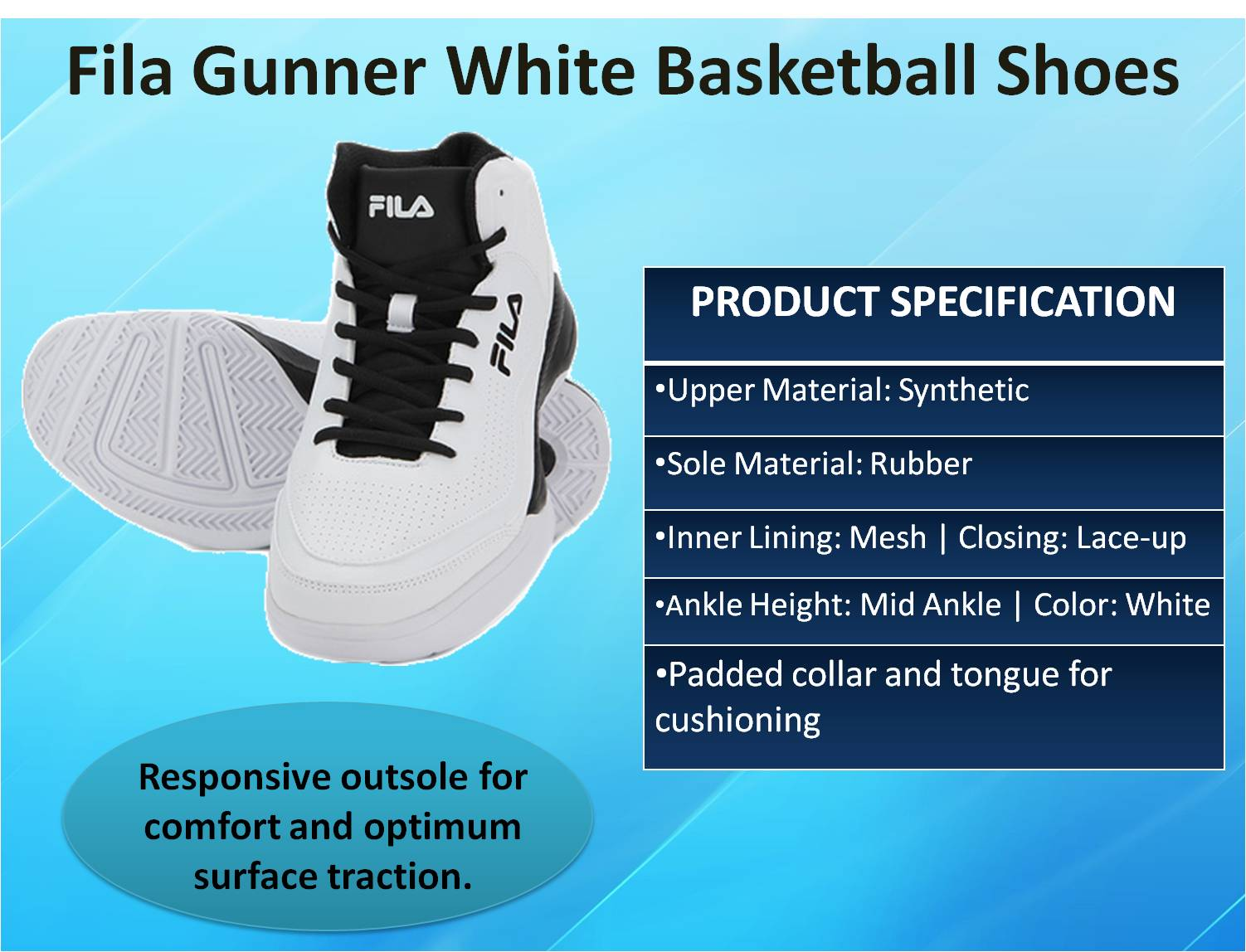 Fila Gunner White Basketball Shoes