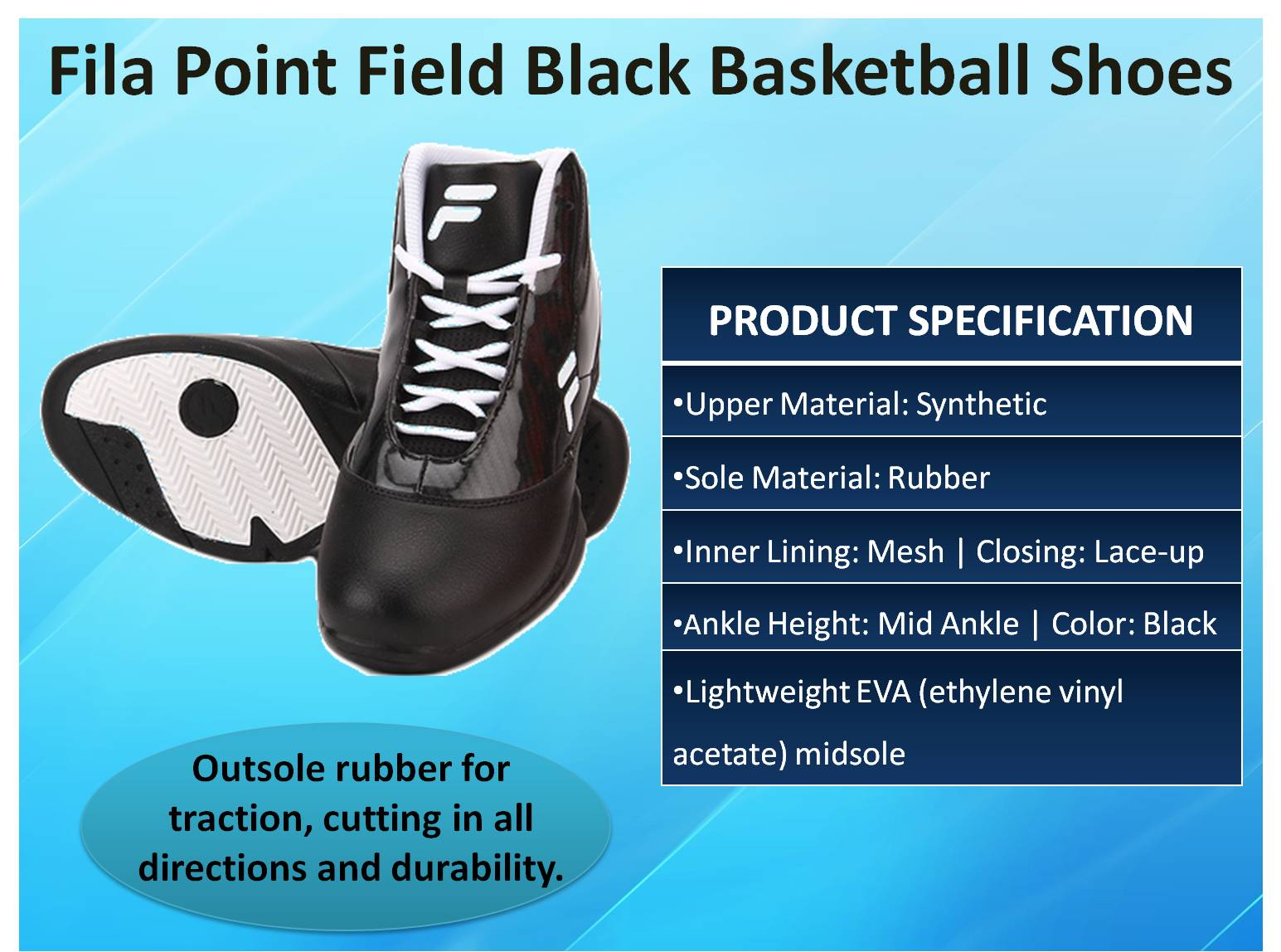 Fila Point Field Black Basketball Shoes