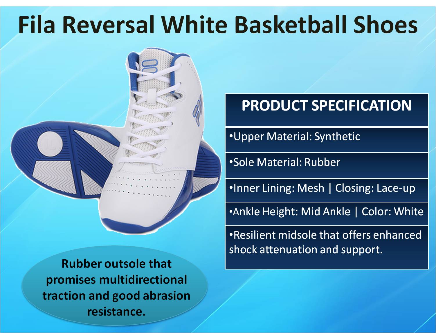 Fila Reversal White Basketball Shoes