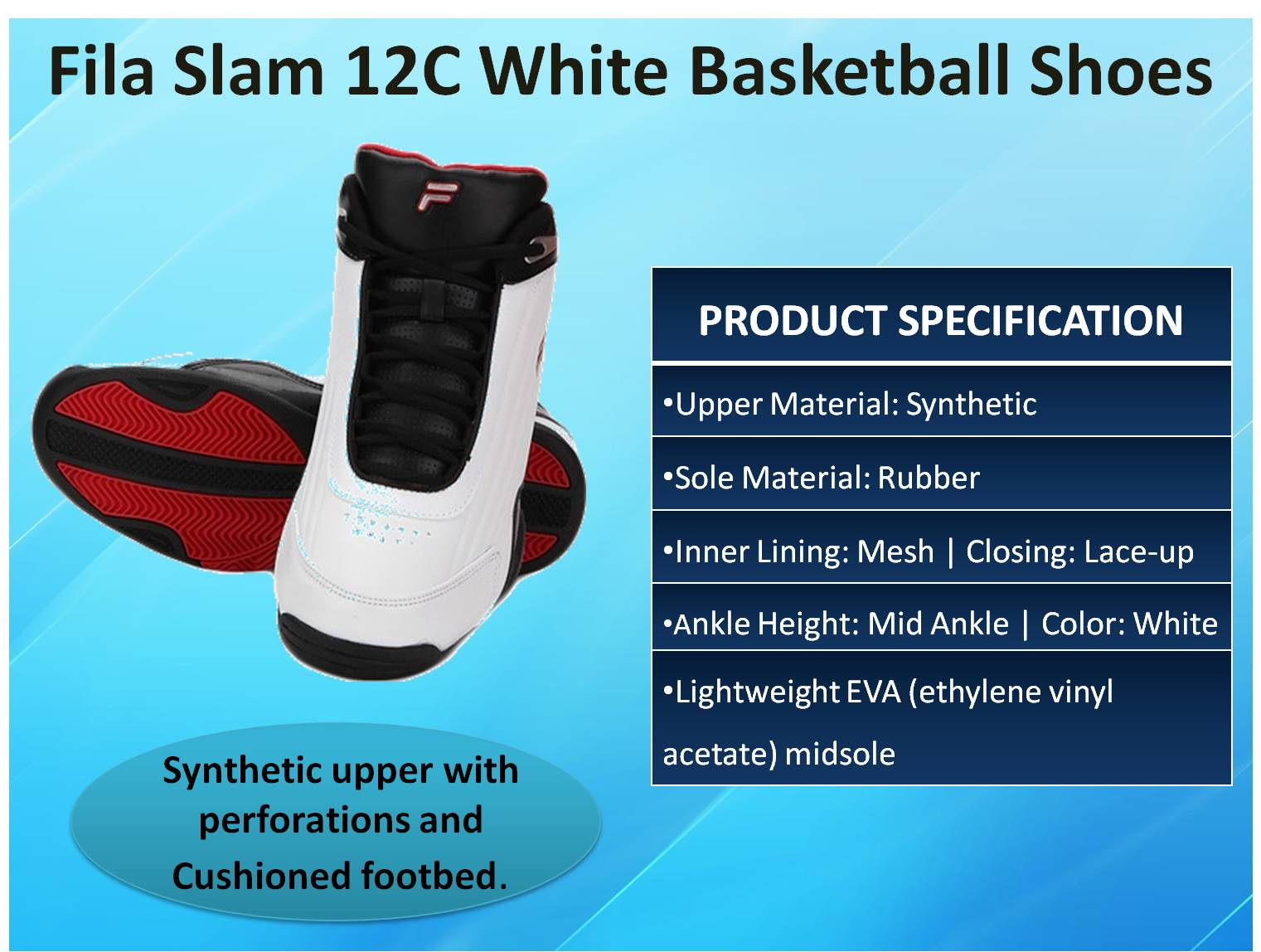 Fila SLam 12C White Basketball Shoes