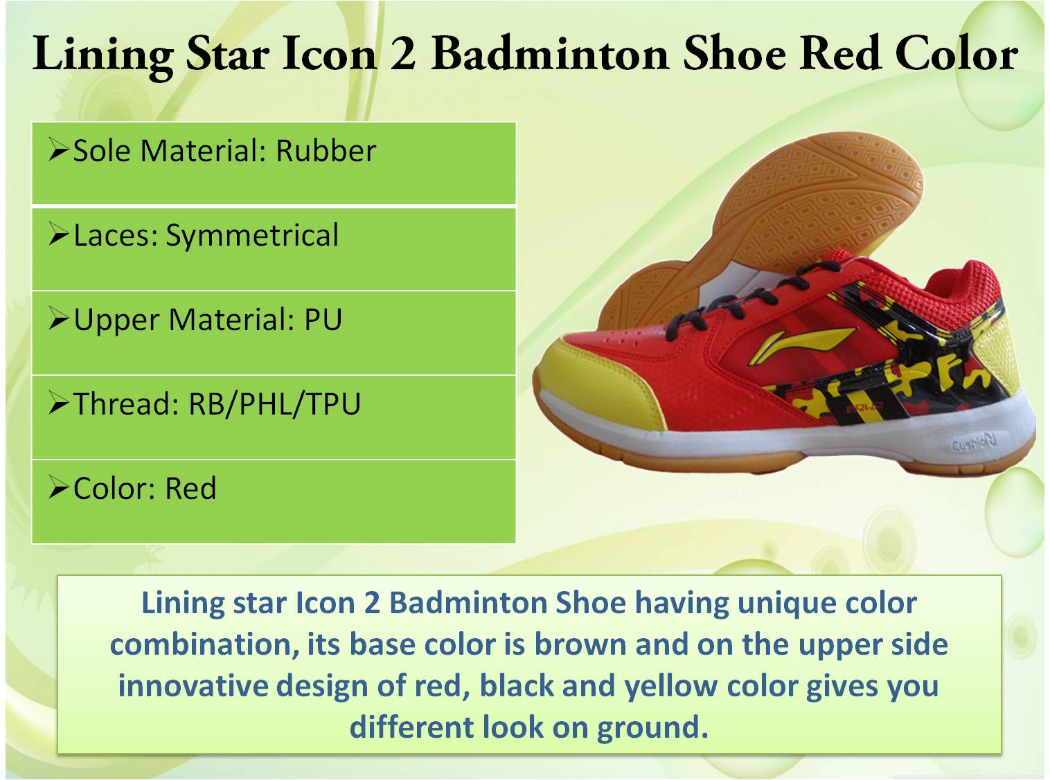 Lining Star Icon 2 Badminton Shoes Red Color