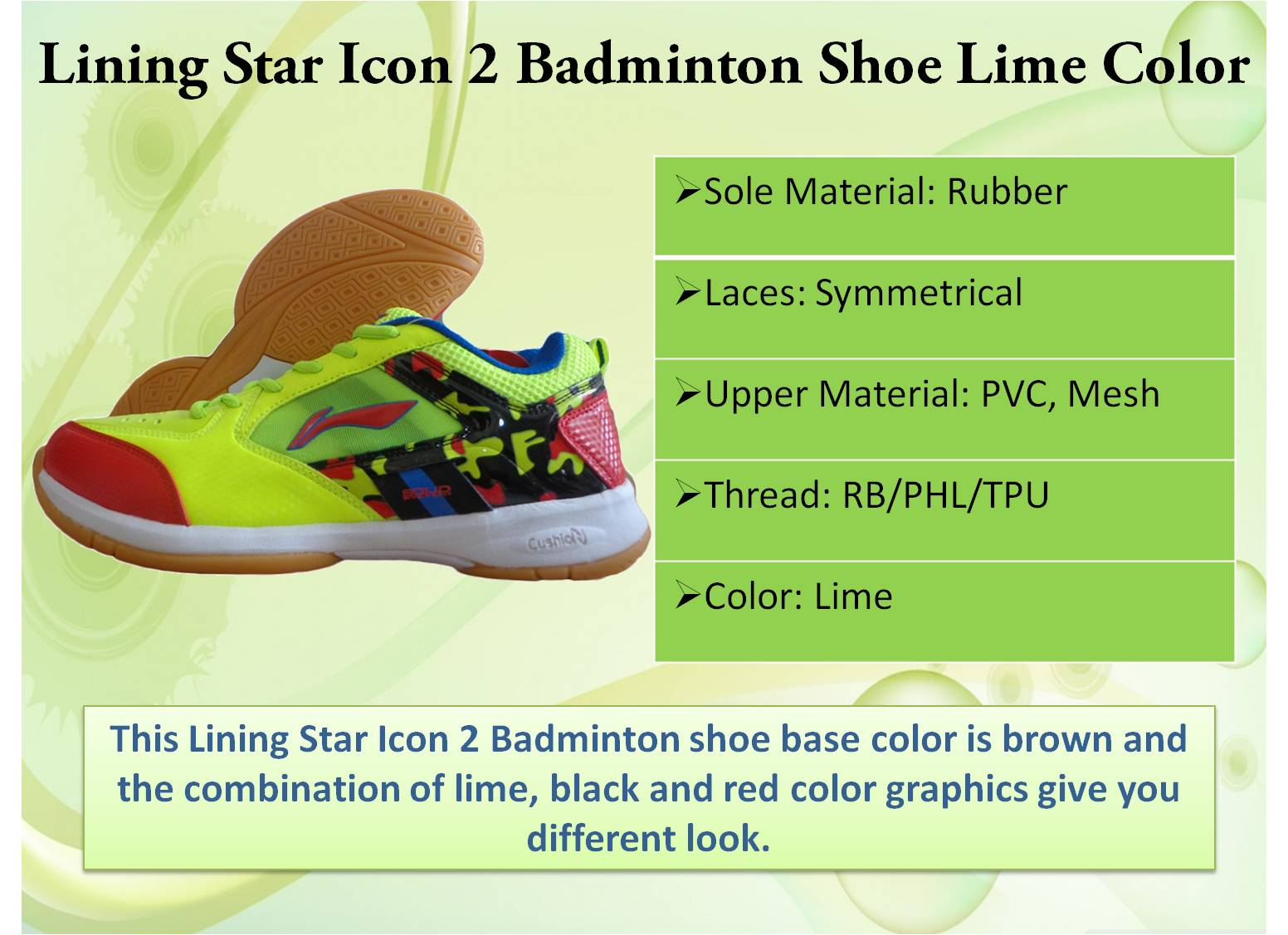 Lining star icon 2 badminton shoe in Lime color