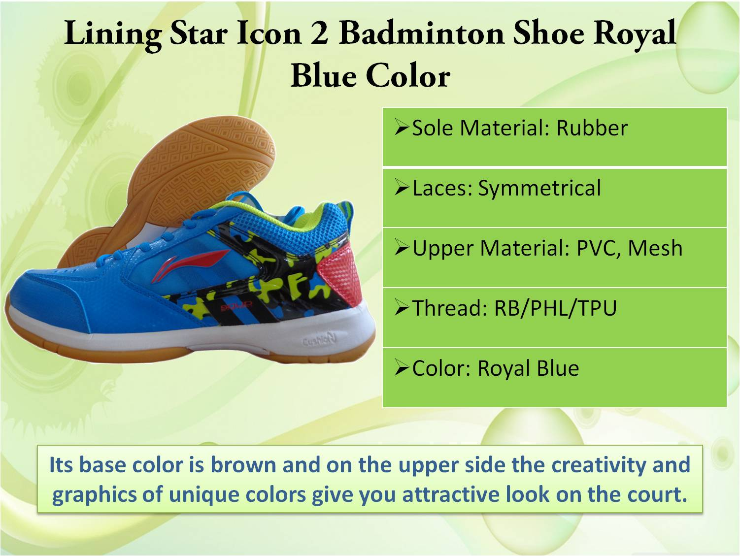 Lining star icon 2 badminton shoe in Royal Blue color