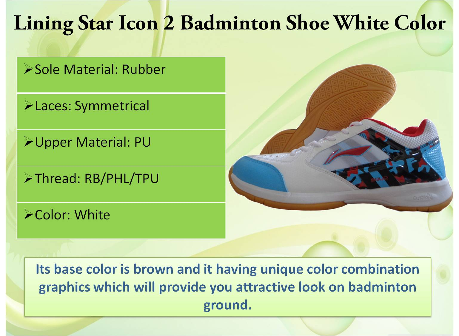 Lining star icon 2 badminton shoe in White color