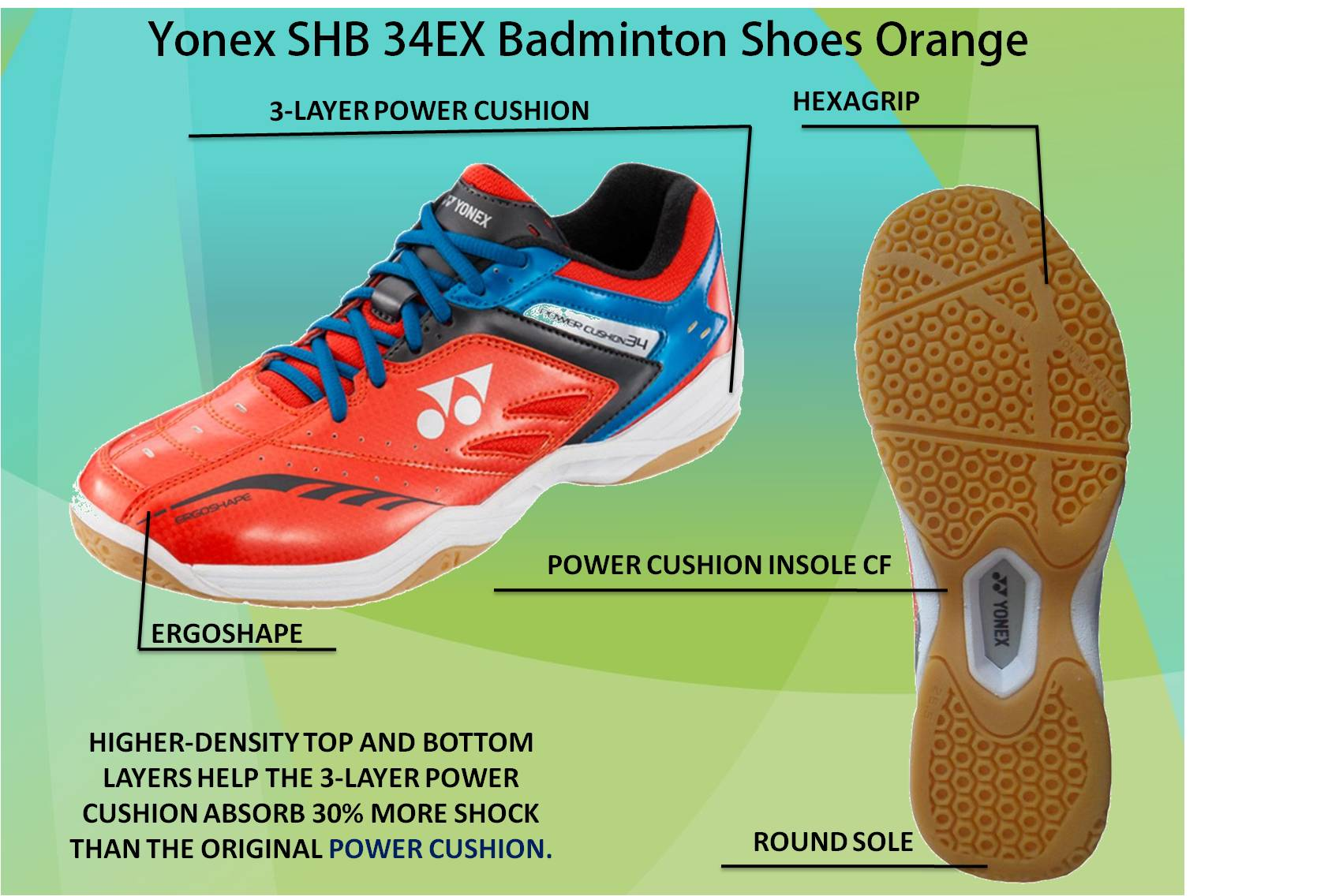 Yonex SHB 34 EX Badminton Shoes Orange