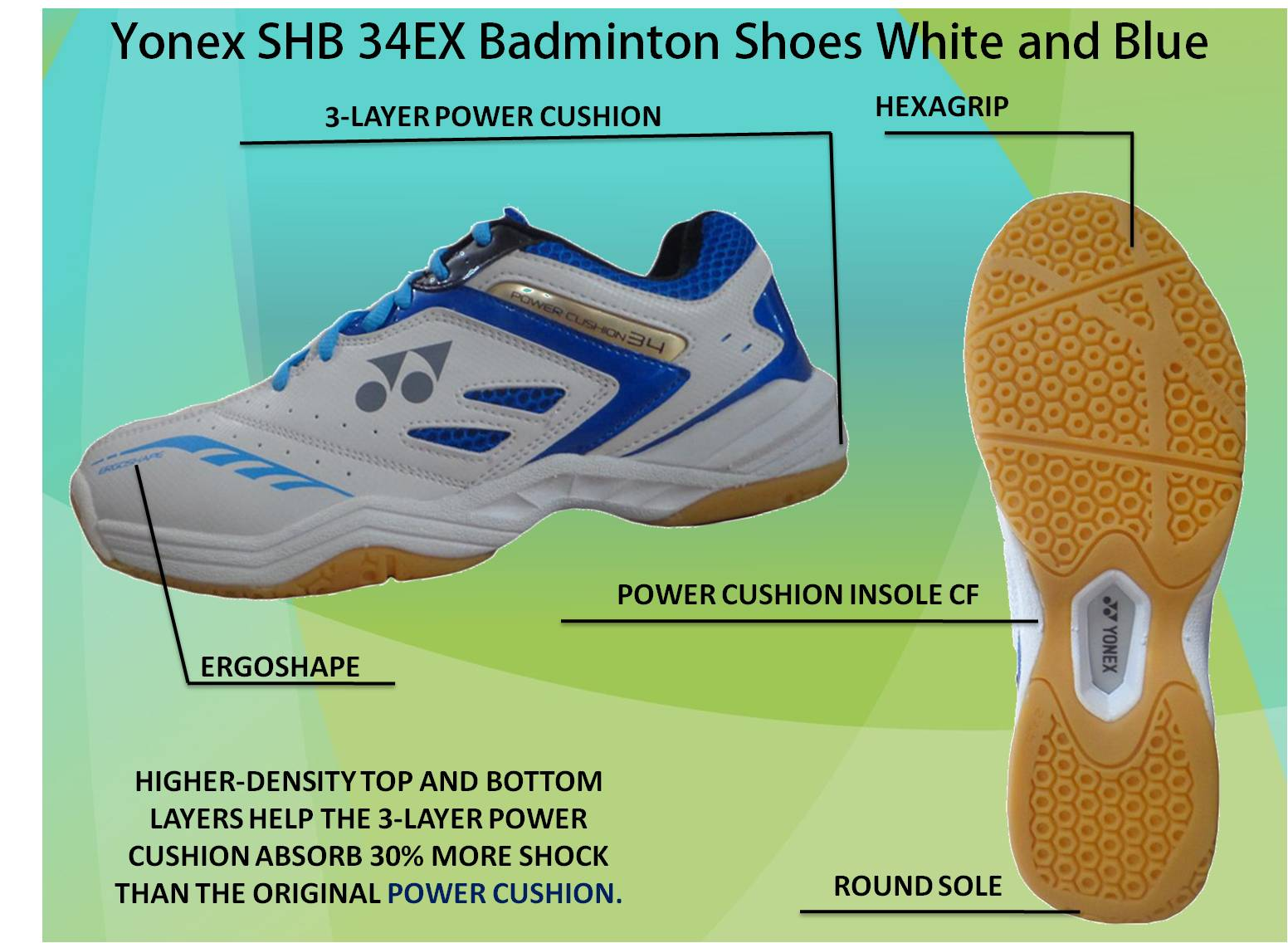 Yonex SHB 34 EX Badminton Shoes White and Blue