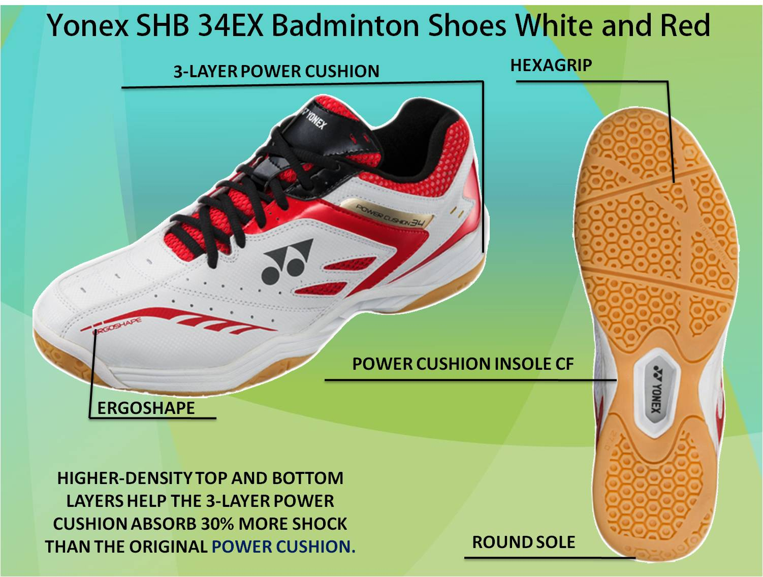 Yonex SHB 34 EX Badminton Shoes White and Red