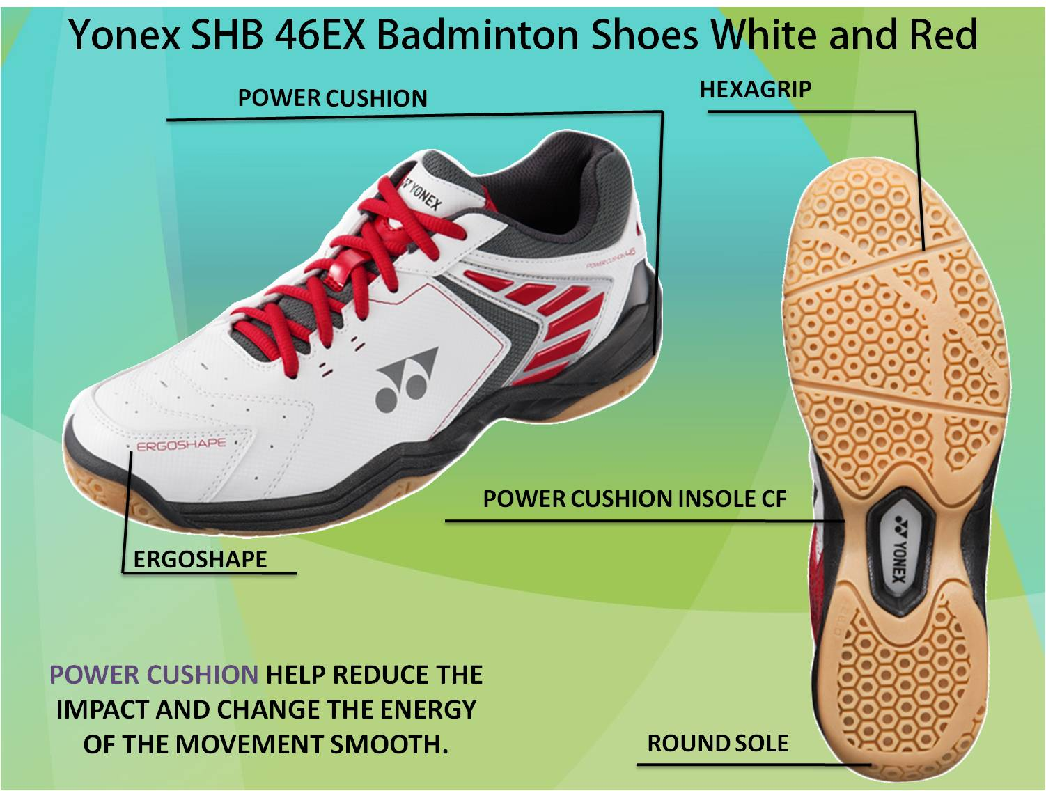 Yonex SHB 46 EX Badminton Shoes White and Red