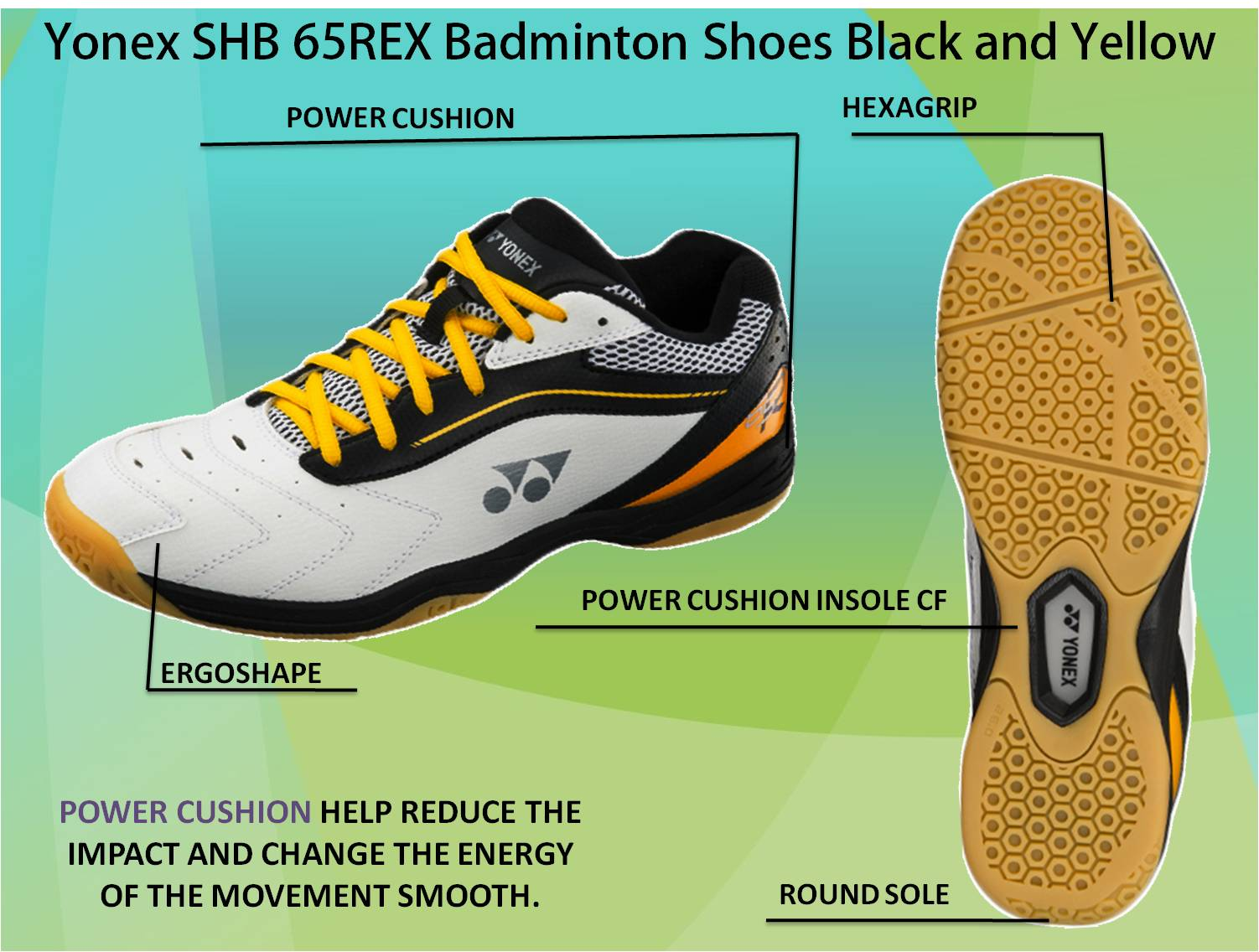 Yonex SHB 65 REX Badminton Shoes Black and Yellow 33e180844478b
