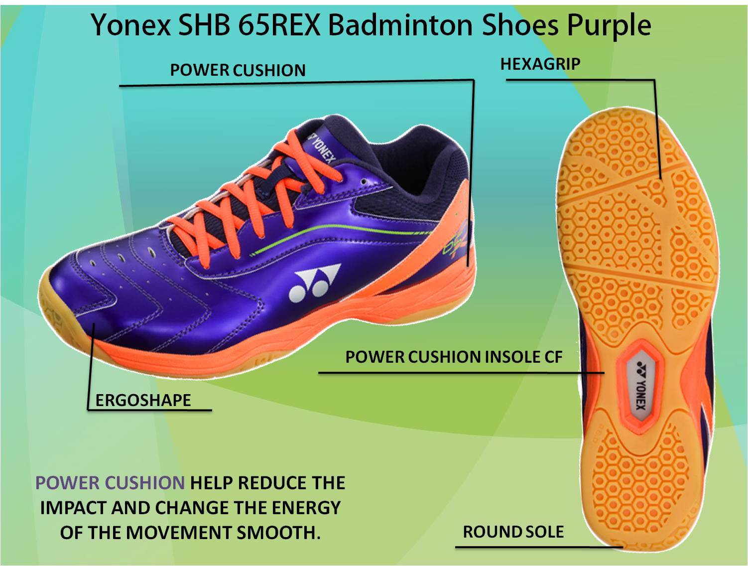 Yonex SHB 65 REX Badminton Shoes Purple