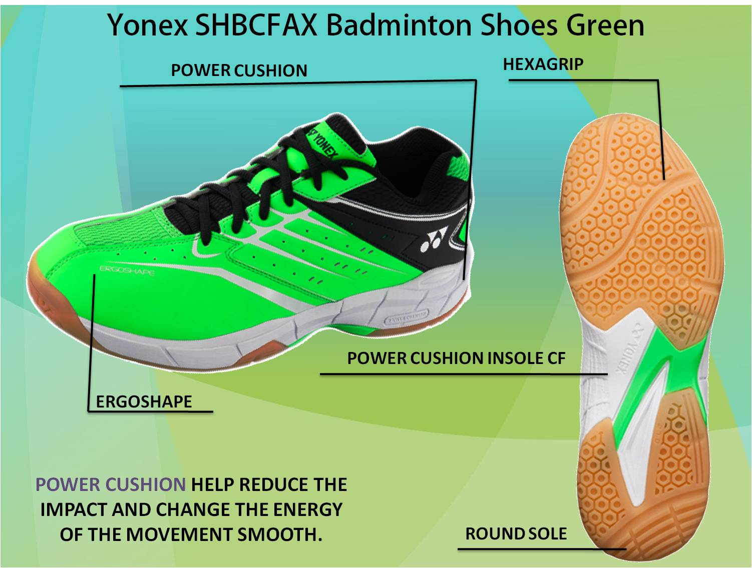 Yonex SHBCFAX Badminton Shoes Green