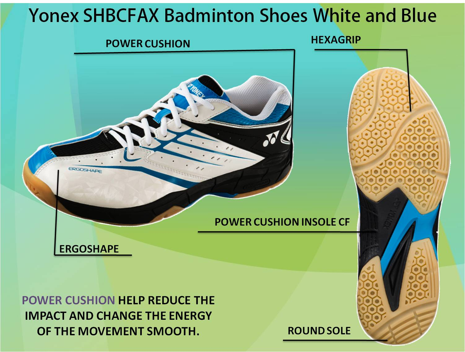 Yonex SHBCFAX Badminton Shoes White and Blue