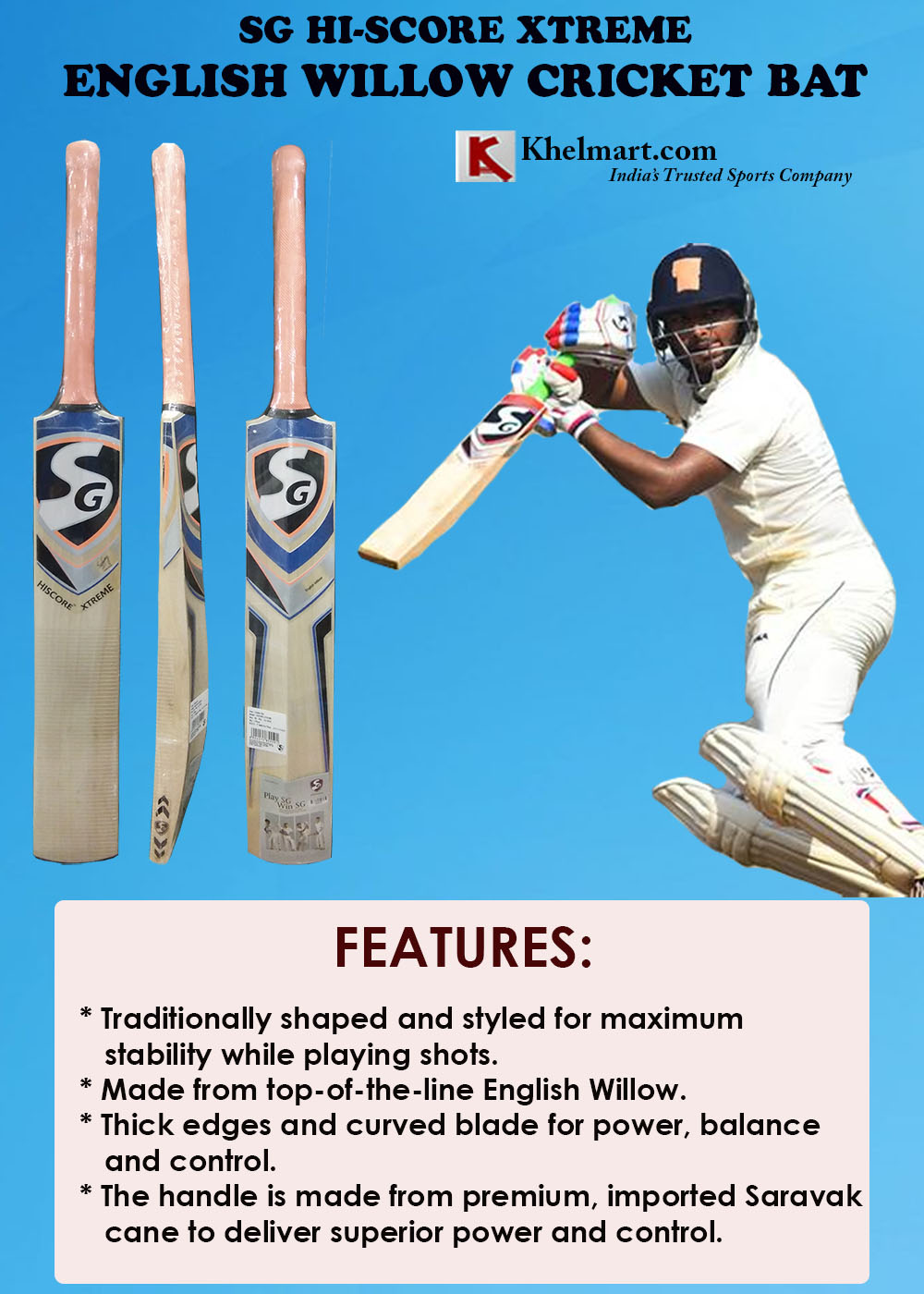 SG Hiscore Xtreme English Willow Cricket Bat
