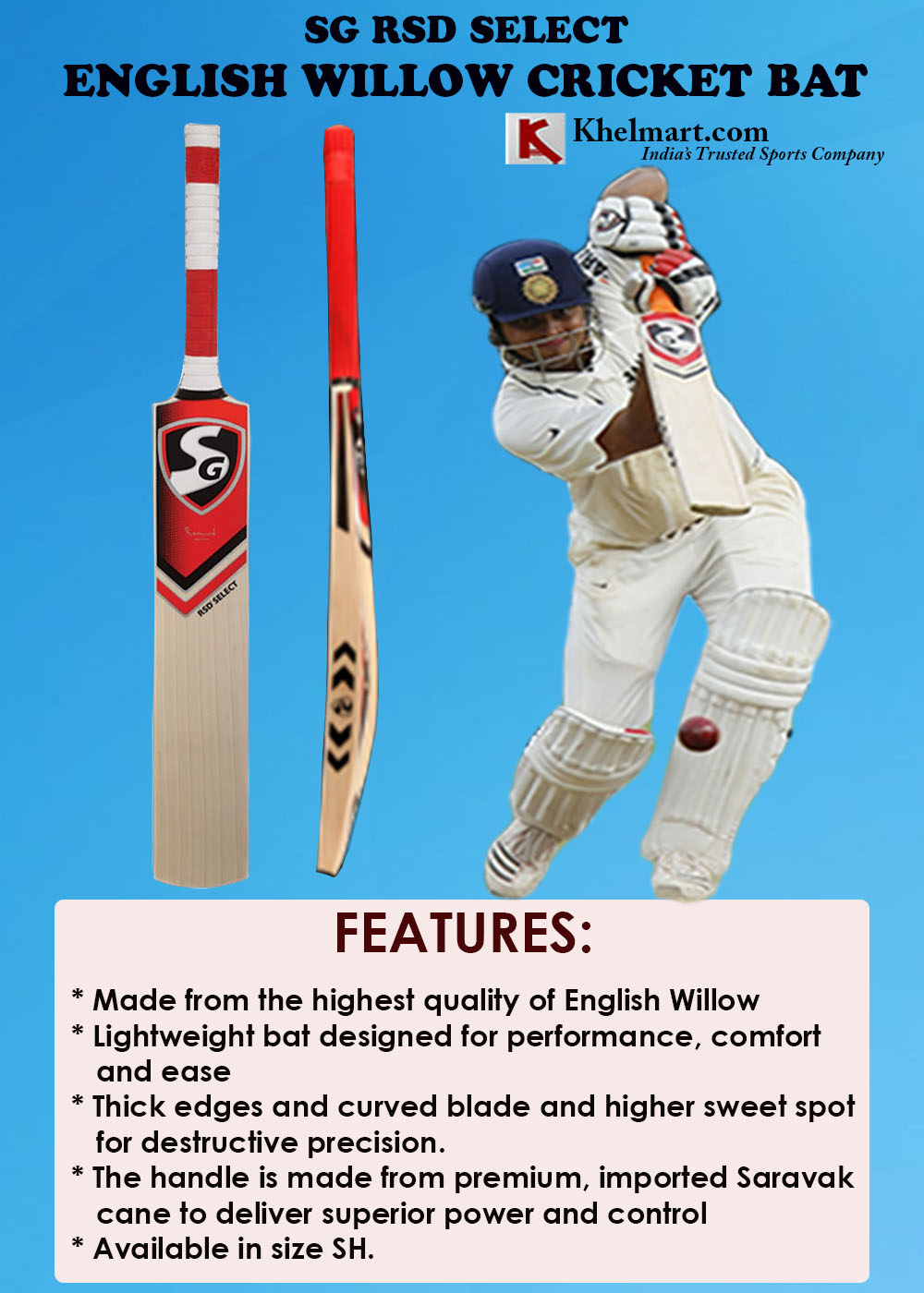 SG RSD Select English WillowCricket Bat